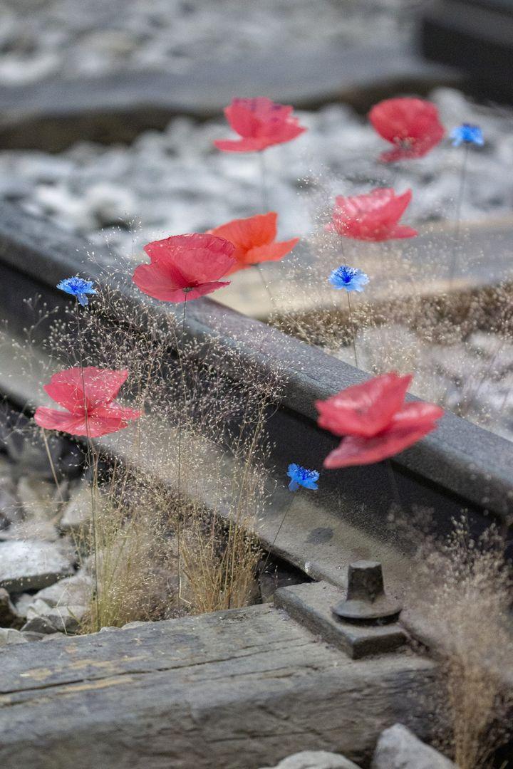 """Le projet""""RailwayFlowers"""": des coquelicots et des bleuets en déchets plastiques réalisés par William Amor ont été installés sur les rails de chemin de fer du Musée Léonard deVincià Milan. (WILLIAM AMOR)"""