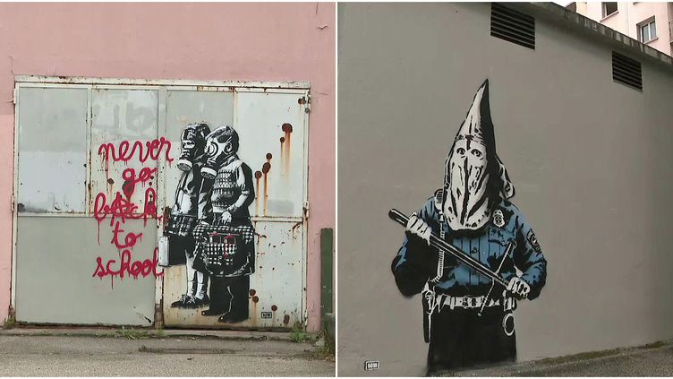 """""""Never go back to school et """"KKKops', deux nouvelles oeuvres au pochoir de l'artiste militant GOIN ont fait leur apparition au Street Art Fest (France 3 AURA)"""