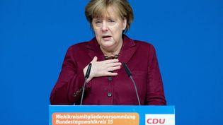Angela Merkelfait un discourslors d'une réunion del'Union chrétienne-démocrate (CDU) à Grimmen, en Allemagne, le 28 janvier 2017. (STEFAN SAUER / DPA / AFP)