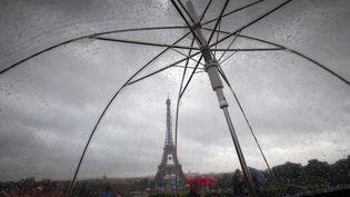 La Tour Eiffel, vue à travers un parapluie, le 20 juin 2016. (PETER KNEFFEL / DPA)
