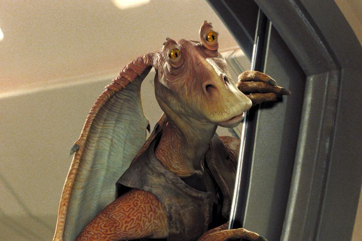 """Le personnage de Jar Jar Binks dans """"La Menace fantôme"""", film de l'univers Star Wars sorti en 1999, réalisé par George Lucas. (LUCASFILM / ARCHIVES DU 7EME ART)"""