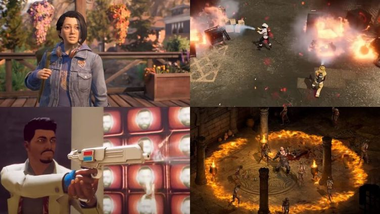 """De gauche à droite et de haut en bas : """"Life is Strange : True Colors"""", """"Fire commander"""", """"Deathloop"""" et """"Diablo II : Resurrected"""". (FRANCEINFO)"""