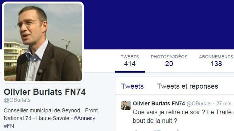 Capture d'écran du compte Twitter d'Olivier Burlats, élu FN en Haute-Savoie. (TWITTER)