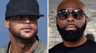 Les rappeurs Booba (à gauche) et Kaaris (à droite), les 19 mai 2014 et 25 mars 2015 (Dominique FAGET, Loïc VENANCE / AFP)