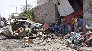 Après trois ans de guerre, la ville d'Aden est en ruines. Photo prise le 13 mars 2018. (MURAD / NURPHOTO / AFP)