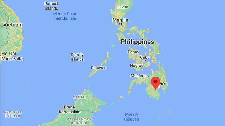 Un séisme de magnitude 6 etde 24,6 km de profondeur s'est produit à12h22, heure locale (5h52 heure française)au sud des Philippines, le 7 février 2021. Son épicentre a été localisé à deux kilomètres à l'est de la ville de Magsaysay, sur la grande île de Mindanao. (GOOGLE MAPS)