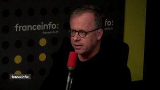 Christophe Deloire, le secrétaire général de Reporters sans frontières (RSF) dans le studio de franceinfo le 25 avril 2018. (FRANCEINFO / RADIOFRANCE)