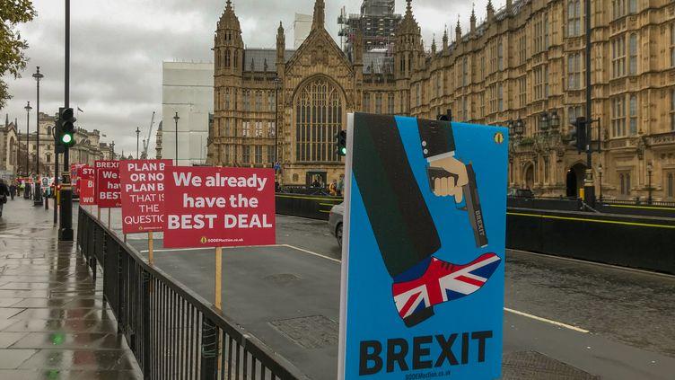 Des pancartes déposées par des personnes opposées au Brexit,devant le Parlement britannique, le 9 avril 2019. (ROBIN POPE / NURPHOTO / AFP)