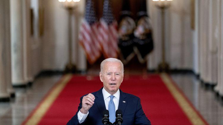 Allocution duprésident Joe Biden à la Maison Blanche à Washington, sur le retrait des troupes américaines d'Afghanistan.  (STEFANI REYNOLDS / POOL / BLOOMBERG POOL)