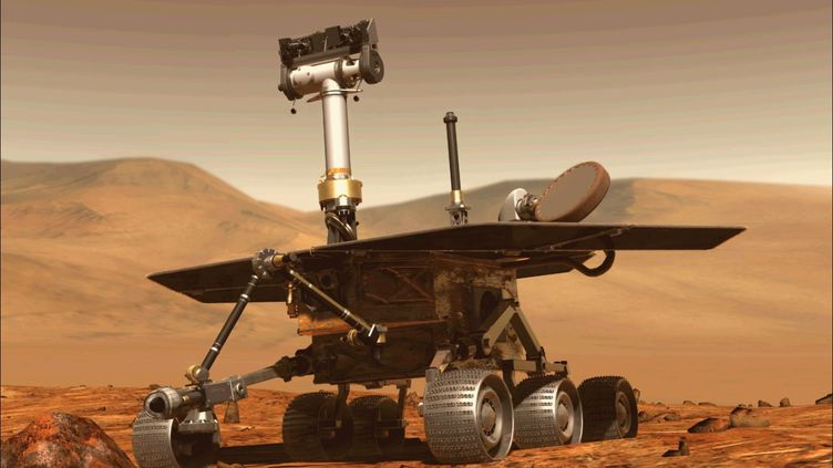 Une image générée par un ordinateur, le 31 août 2018, pour montrer le robot Opportunity sur la planète Mars. (NASA)