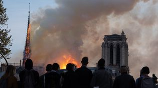Des personnes observent l'incendie de Notre-Dame, le 15 avril 2019, à Paris. (VIRGINIE MERLE / HANS LUCAS / AFP)