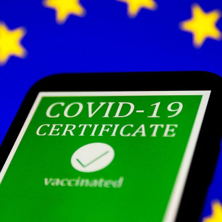 Un aperçu du certificat vaccinal européen, qui entre en vigueur le 1er juillet 2021. (JAKUB PORZYCKI / NURPHOTO / AFP)
