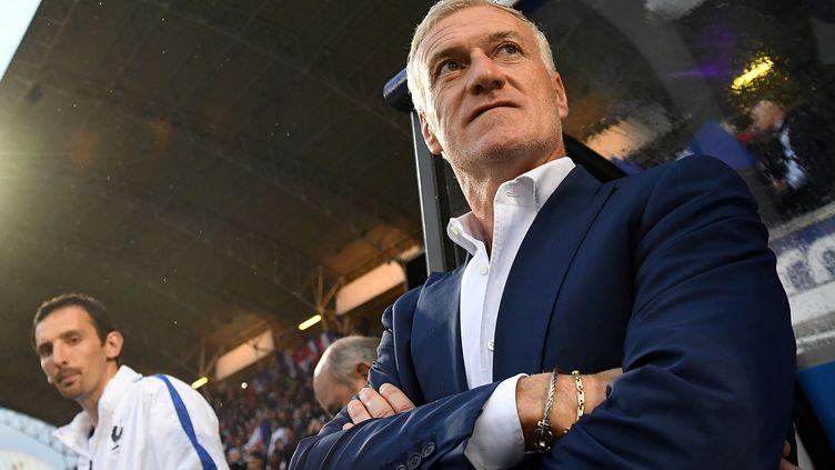 Didier Deschamps satisfait après la victoire des Bleus face à l'Ecosse (FRANCK FIFE / AFP)