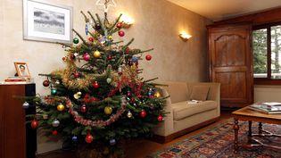 Un sapin de Noël décoré dans un salon attend les cadeaux. (FAYOLLE PASCAL/SIPA)