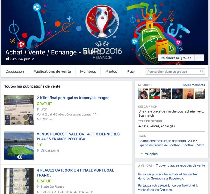 Capture d'écran d'une des pages Facebook consacrées à la revente de billets pour assister aux matchs de l'Euro. (FACEBOOK)