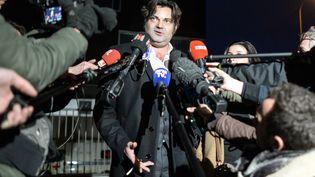 L'un des avocats de Jonathann Daval, maître Randall Schwerdorffer, le 30 janvier 2018 à Besançon (Doubs). (SEBASTIEN BOZON / AFP)
