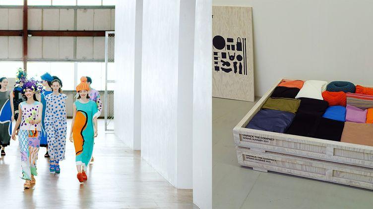 """Collection Issey Miyake printemps-été 2021 """"Unpack the compact"""" présentée sous forme de vidéo à la Paris Fashion Week, le 2 octobre 2020 et à côté la boîte contenant toute la collection (ISSEY MIYAKE)"""