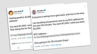 Comptes Twitter de Bill Gates et Elon Musk piratés. (CAPTURE D'ÉCRAN)