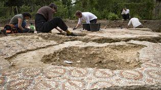 """Les fouilles archélogiques de mise au jour de la """"Domus"""" de Auch, mardi 11 juillet 2017.  (ERIC CABANIS / AFP)"""