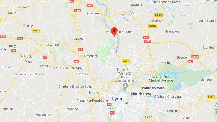 Albigny-sur-Saône (Rhône). (CAPTURE ECRAN GOOGLE MAPS)
