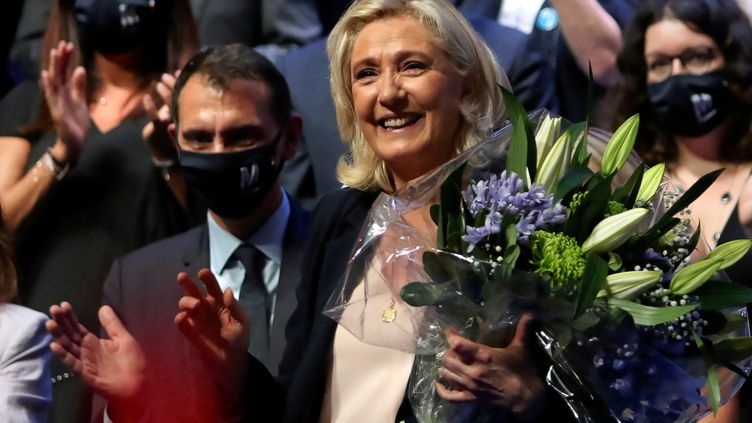 Marine Le Pen lors du congrès du Rassemblement national le 4 juillet 2021. (VALENTINE CHAPUIS / AFP)