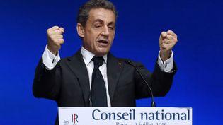L'ancien président de la République et candidat à la primaire de la droite, Nicolas Sarkoey, le 2 juillet 2016, lors d'un Conseil national des Républicains, à Paris. (PATRICK KOVARIK / AFP)