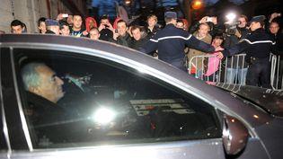 Dominique Strauss-Kahnà sa sortie de garde à vue à Lille (Nord), le 22 février 2012. (FRANCOIS LO PRESTI / AFP)