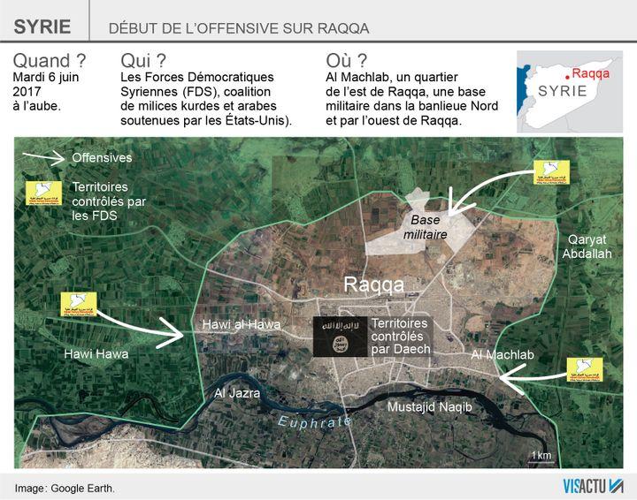 L'offensive sur Raqqa, capitale syrienne autoproclamée du groupe État islamique (EI), a commencé mardi 6 juin 2017 à l'aube. (VISACTU)