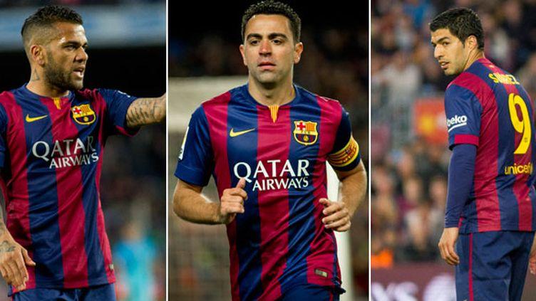 Daniel Alves, Xavi et Luis Suarez, trois joueurs du FC Barcelone