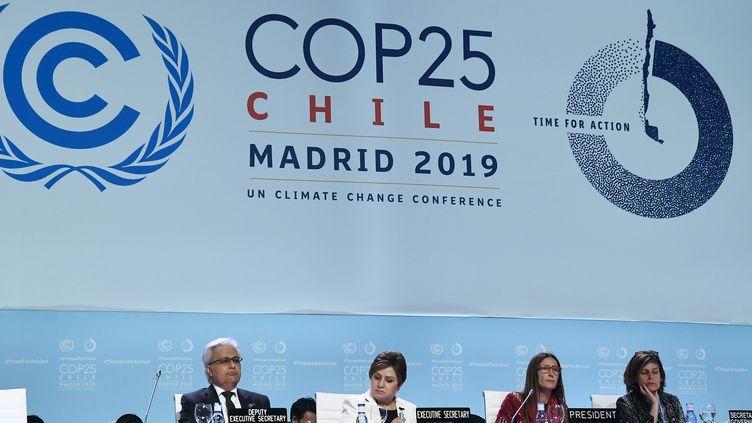 La COP25 s'est achevée dimanche 15 décembre 2019 à Madrid (Espagne) sans avancée majeure dans la lutte contre le réchauffement climatique. (OSCAR DEL POZO / AFP)