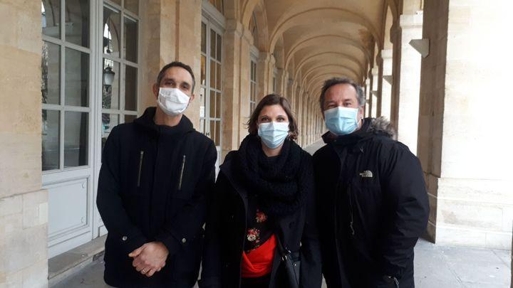 De gauche à droite : Frédéric Béchir, Isciane Labatut et Hervé Jolis (1er février 2021) (RADIO FRANCE/ Farida Nouar)