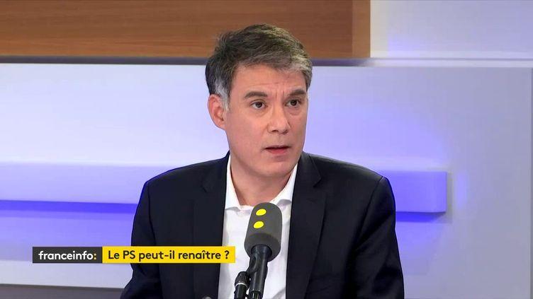 """Olivier Faure, premier secrétaire du PS, était l'invité du """"18h50 franceinfo"""" le 13 février 2020. (FRANCEINFO / RADIOFRANCE)"""