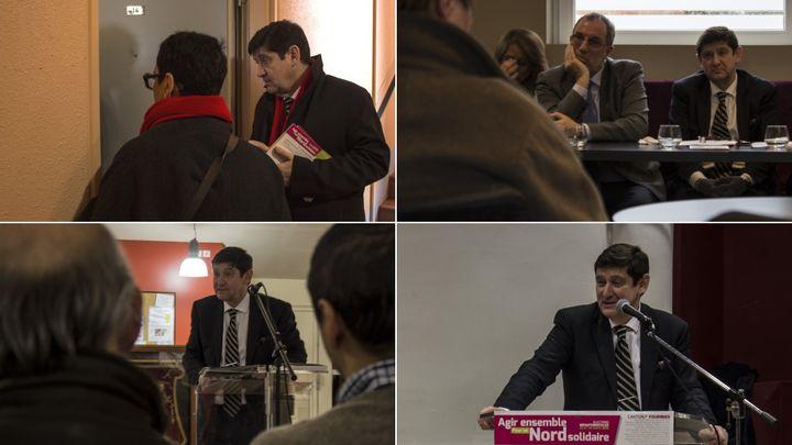 Le ministre de la Ville, de la Jeunesse et des Sports, Patrick Kanner, en campagne pour les départementales à Lille, Maubeuge, Feignies et Fourmies (Nord), le 14 mars 2015. (MATHIEU DEHLINGER / FRANCETV INFO)