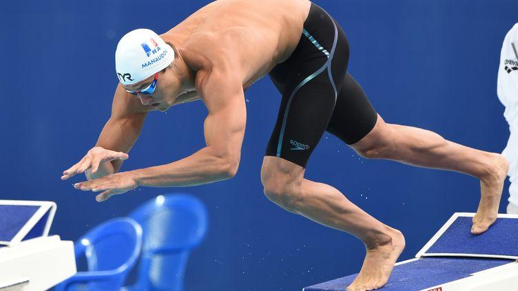 Le Français Florent Manaudou lors des séries du 50 m nage libre, aux 16e Championnats du monde de natation, à Kazan (Russie), le 7 août 2015. (STEPHANE KEMPINAIRE / STEPHANE KEMPINAIRE)