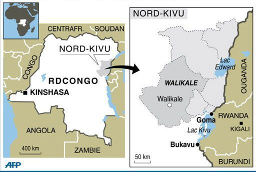 Carte de la province du Nord-Kivu (RDC) (AFP)