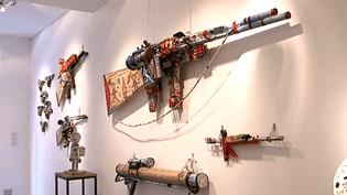 Les fusils mitrailleurs d'André Robillard exposés à la Grand'Rue à Poitiers.  (France 3 / capture d'écran)