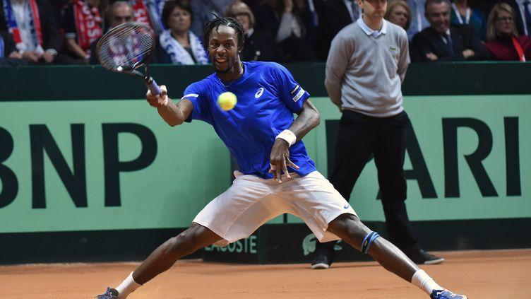 Le tennisman français Gaël Monfils, le 21 novembre à Villeneuve-d'Ascq (Nord). (PHILIPPE HUGUEN / AFP)