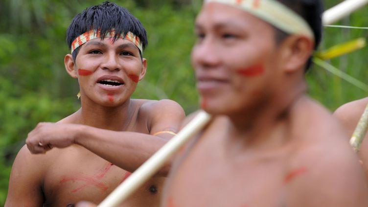 Des Indiens Waorani d'Equateur dans le parc nationalYasuni en pleine forêt amazonienne, le 21 août 2010. (RODRIGO BUENDIA / AFP)