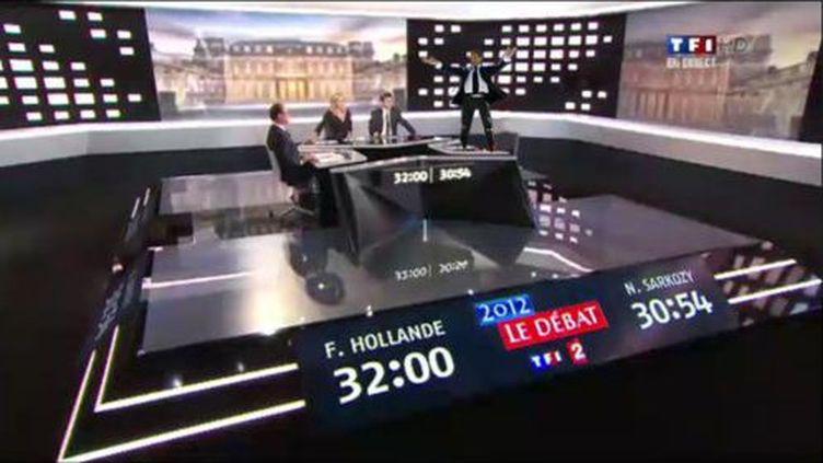 """Détournement d'une image du débat entre François Hollande et Nicolas Sarkozy, publiée sur le Tumblr """"Le débat"""" le 2 mai 2012. (VIMARETHOMAS / TUMBLR)"""