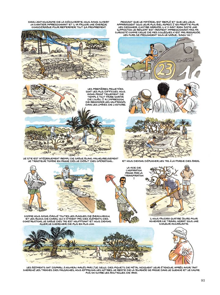 """Les archéologues en plein travail. Planche extraite de la bande dessinée """"Les Esclaves oubliésde Tromelin"""" par Savoia. (© DUPUIS 2019)"""