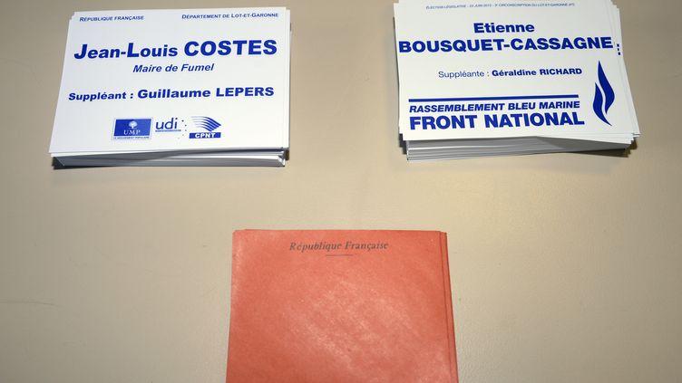 Les électeurs de la 3e circonscription du Lot-et-Garonne doivent choisir entre le candidat de l'UMP, Jean-Louis Costes, et celui du Front national, Etienne Bousquet-Cassagne, le 23 juin 2013. (JEAN-PIERRE MULLER / AFP)