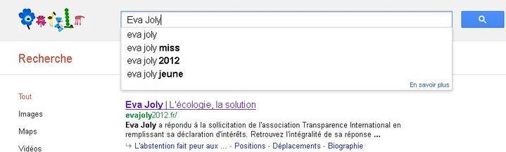 """Capture d'écran d'une recherche """"Eva Joly"""". (DR)"""