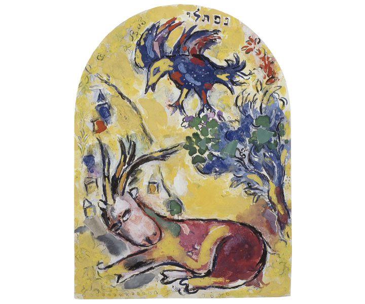 """Marc Chagall,""""La Tribu de Nephtali"""", maquette définitive pour les vitraux de la synagogue de l'hôpital Hadassah, Jérusalem, 1959-1960, Gouache, aquarelle, pastel, encre de Chine, papiers collés et crayon sur papier, collection particulière  (© Adagp, Paris 2020 - Photo © Ewald Graber)"""