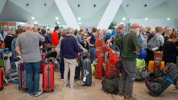 Aéroport de Marrakech, le 15 mars 2020. (- / AFP)