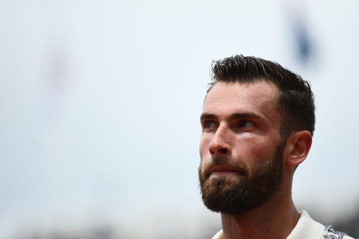 Quentin Halys au premier tour de Roland-Garros face à Kei Nishikori, en 2019. (MARTIN BUREAU / AFP)