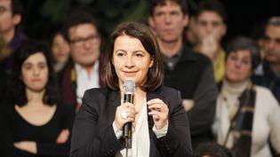 L'ancienne ministre du Logement, Cécile Duflot, durant un meeting à Paris, le3 février 2016. (MATTHIEU ALEXANDRE / AFP)