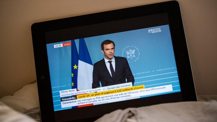 Olivier Véran, ministre de la Santé,répond aux questions à l'issue d'un Conseil des ministres, le 15 avril 2020. (XOSE BOUZAS / HANS LUCAS / AFP)