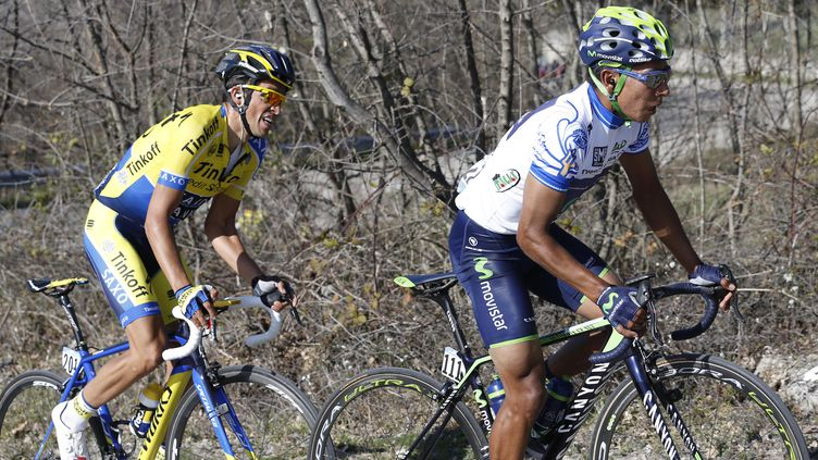 Alberto Contador réussira-t-il à suivre Nairo Quintana jusqu'à Saint-Jacques-de-Compostelle, étape finale de la Vuelta 2014? (YUZURU SUNADA / BELGA MAG)