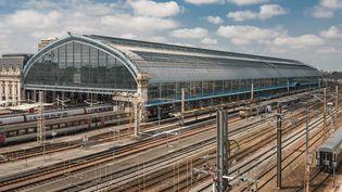 Vue aérienne de la gare de Bordeaux (Gironde). (ONLY FRANCE / AFP)