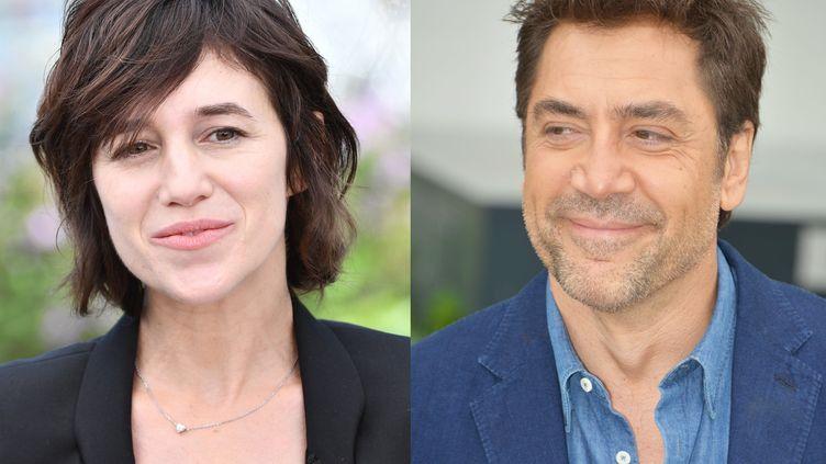 Charlotte Gainsbourg au Festival de Cannes le 17 mai 2017 et Javier Bardem au Festival de Cannes le 9 mai 2018. (MUSTAFA YALCIN / ANADOLU AGENCY / AFP et JACKY GODARD / PHOTO 12 / AFP)